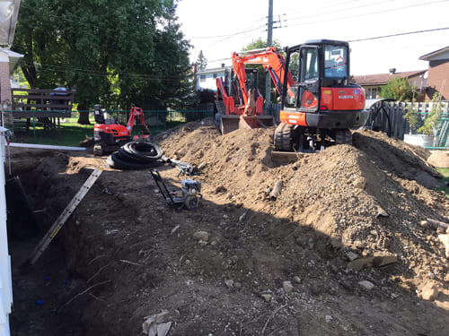Excavation Fondasec - creusement de tranchées, remblayage, excavation, drains français, imperméabilsation, sceller les fissures. | Fondasec.com