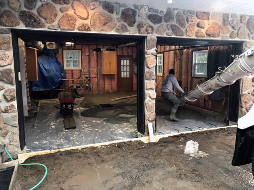 Excavation Fondasec - plancher de garage, bris de ciment, enlever le remblai, béton, pierre concassée, nouvelle dalle, dalle de béton, plancher de béton. | Fondasec.com