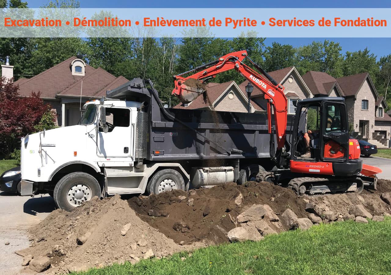Excavation Fondasec - Excavation, Démolition, Enlèvement de Pyrite & Services de Fondations dans le grand Montréal et les environs.   Fondasec.com