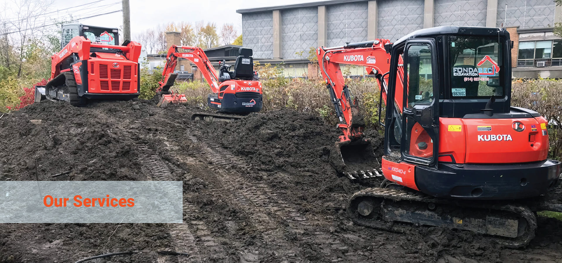 Fondasec Excavation services for the greater Montreal area, include Excavation, Demolition, Pyrite removal & Foundation services. | Fondasec.com