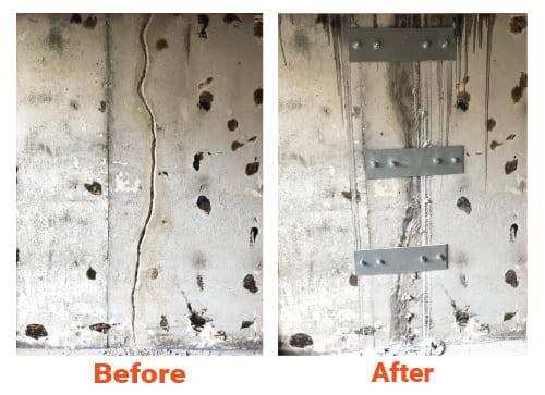 Fondasec Excavation | Montreal area - interior, exterior crack repair, seal cracks, polyurethanes, metal plates, metal rebar | Fondasec.com