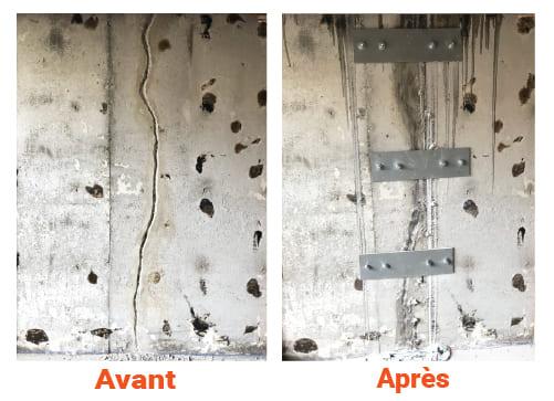 Excavation Fondasec - intérieur, extérieures, réparation de fissures, sceller une fissure, polyuréthanes, plaques métalliques, barres d'armature métalliques. | Fondasec.com
